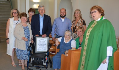 John Bordley recently completed the four-year Education for Ministry (EfM) program. Karen Meredith, director of EfM, preached the sermon at the service, and the Rev. Jo Ann Barker was the celebrant. Class members were readers and the acolyte. A ending the ceremony  om le : Sara Nally, Karen Meredith, Kathy Sturgis, John Bordley, Kevin Cummings, Sister Mary Martha, Chris Colane, Shelley Cammack and Jo Ann Barker. Not pictured: Rachel Lynch