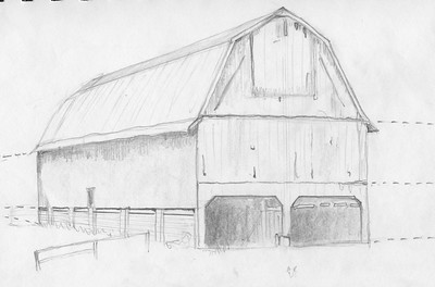 Sewanee Barn on Old Farm Road. Pencil sketch by Jill Carpenter