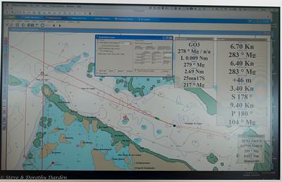 Electronic chart showing ADAGIO enroute to Gadji