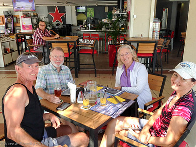 The Adagio crew relaxing at Malecon Cafe, our favorite spot on Baie de Citron .