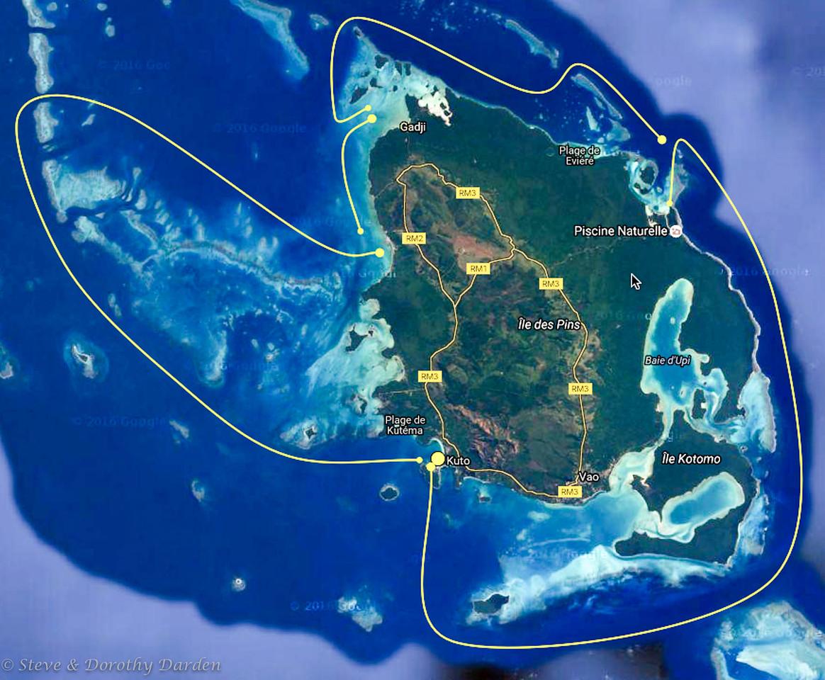 Ile des Pins satellite chart - counterclockwise circumnavigation of IDP