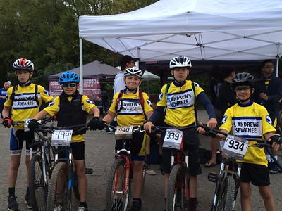 SAS middle school mountain bikers (from left) are Jon Mark Wert, Dylan Killingham, Eli Thompson, Cameron Weaver and Luca Malde