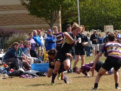 Sewanee's Purple Haze rugby club entertains visiting families with a scrimmage on Oct . 8 during Parents' Weekend. Photo by Lyn Hutchinson
