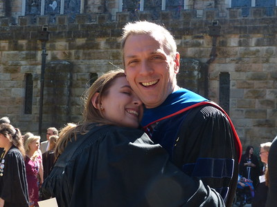 Allison Bruce and her father Alex Bruce celebrate at her gowning during Friday's Founder's Day Convocation