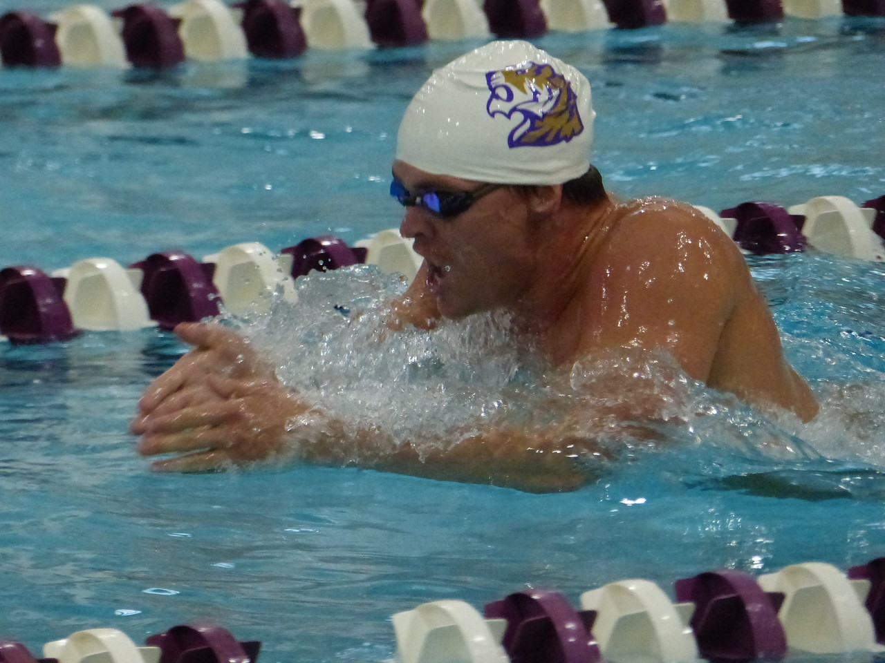 Senior Michael Whitehead won the 400-yard individual medley race in the Oct.14 meet against Centre College. Photo by Lyn Hutchinson