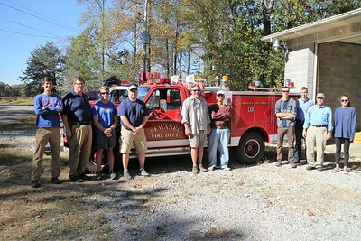 Sewanee Fire Station 2 - Jumpoff  District celebrated the addition of the new pumper truck recently donated to the fire department by Dan Rather