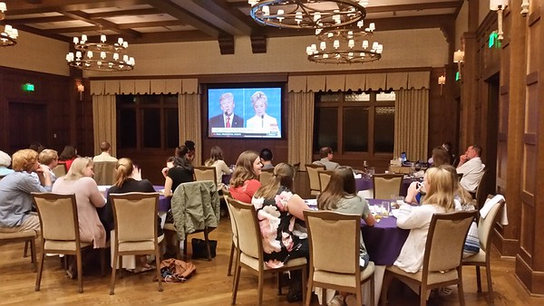 The crowd at DebateWatch at the Sewanee Inn take in the final presidential debate between Hillary Clinton and Donald Trump. Photo by Kevin Cummings