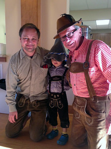 Otey Parish celebrated Oktoberfest last Saturday. Pictured in authentic German Lederhosen are from left, Heiko Reinhard, Harry Reinhard and Gary Sturgis