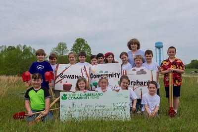 Second-graders from Sewanee Elementary School at the groundbreaking for the orchard