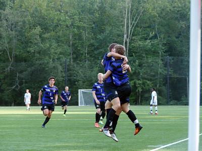 Sewanee's Kyle Johnston and Ben Vaeth celebrate Vaeth's tying goal in the Sept. 10 match against Piedmont