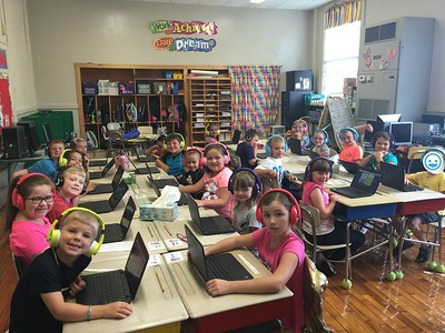 Beth Myers' second-grade class at Monteagle Elementary showed off their indepe dent computer skills while using a new portable Google Chrome Book computer lab