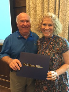 At the Sept. 8 Monteagle Sewanee Rotary Club meeting, Lynn Cimino-Hurt, local chapter president, was inducted into the Paul Harris Fellowship