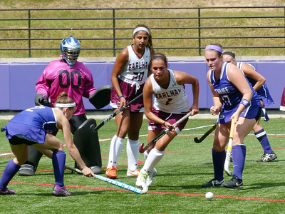 Sewanee's Luna Goodale (left) and Virginia Barry (right) attack the goal in a Sept. 10 win over Earlham. The Tigers also won on Sept. 11. Photo by Lyn Hutchinson