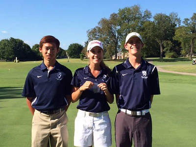 SAS senior Hannah Powell (center) finished second in the Division II-A Girls' Regional Golf tournament on Sept. 19 and qualified for the state tourney with a 75. Junior Gio Hui (left) shot an 88, his best regional score. Junior Aubrey Black (right) shot an 86, missing the state cut but achieving his best regional score.