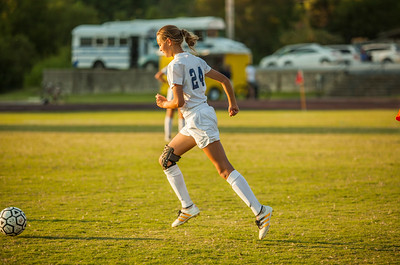 Adeline Smith controls the ball during a recent SAS middle school soccer match