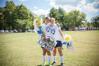 SAS seniors Erin Berner-Coe (left)and Kyra Wilson were honored before the home soccer match against Huntland School on Sept. 24. Photo by St. Andrew's-Sewanee
