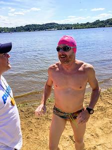 McNair finishes his swim