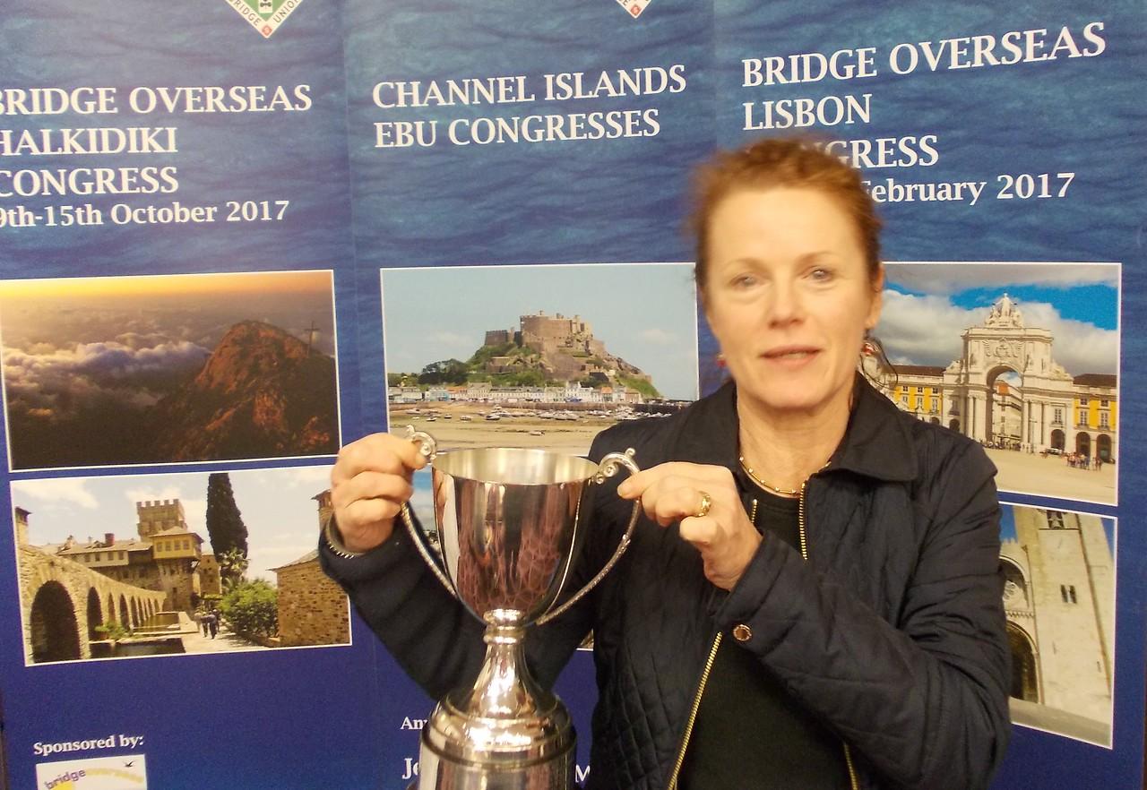 Year End Congress, London, 2016 - Mixed Pairs winners Gitte Hecht-Johansen (pictured) & Szczepan Smoczynski