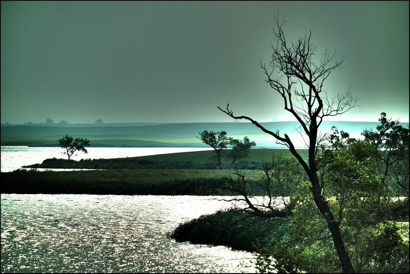 AR-Thompson Lake in Forest Fire Smoke-Betty Calvert