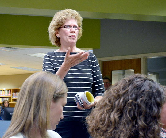 Becky Gobczynski addresses the Teutopolis school board in regards to the possible high school project and its funding at Monday's school board meeting. Kaitlin Cordes photo