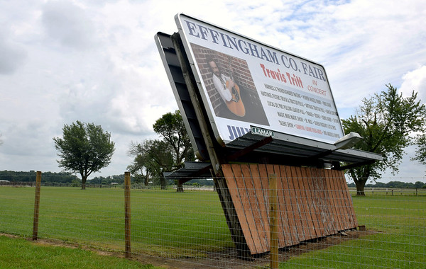 The Effingham County Fair sign along Route 40 leans as a result of Saturday afternoon's storm. Kaitlin Cordes photo