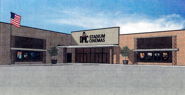 Shown is an artist rendering of the exterior of the RMC Stadium Cinemas. Renovation plans are scheduled to begin soon. Submitted photo
