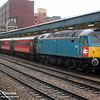 47853 in XP64 livery pauses at Newport on 5th February 2005 with 1V76 08.48 Crewe-Cardiff Central via Wrexham Arriva Trains Wales extra for the Wales versus England Six Nations Rugby Union match at the Millenium Stadium in Cardiff.