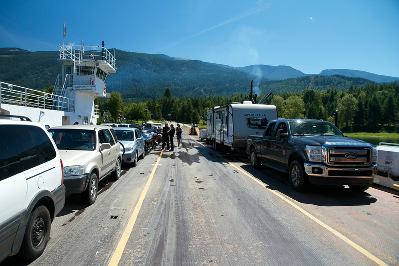 Our truck and trailer take up most of a lane on the Needles Ferry.