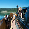 The kids enjoy the view while crossing Arrow Lake on the ferry.
