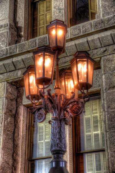 A street lantern adds character and charm to whatever area it adorns. On our last evening in Austin, I found these beautiful lanters at the Texas State Capitol. Photo by Tim Stanley Photography.