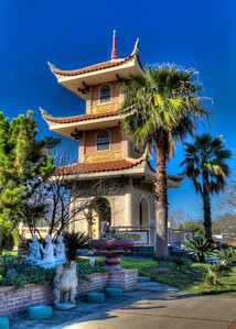 Buddhist Pagoda Most pagodas in Asia were often located in or near temples. This newer structure is located adjacent to a Buddhist temple in southwest Houston.