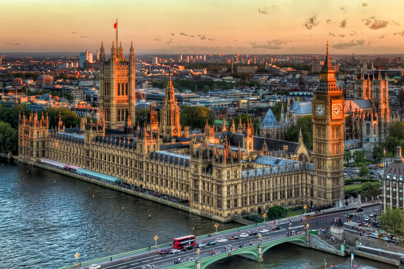 In this sunset view from the London Eye, you can see Westminster Palace, and just behind it to the right, Westminster Abbey. Photo by Tim Stanley Photography.