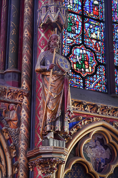 The Apostles in La Saint-Chapelle<br /> Mounted on the clustered shafts that separate the great windows in La Saint-Chapelle are twelve larger than life-sized sculpted stone figures representing the twelve Apostles.