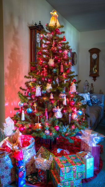 My Childhood Christmas TreeOther than the Nativity scene representing the birth of Christ, the most noticeable figure of this holiday is the Christmas Tree. For many of us, we have childhood memories of decorating our trees each December. I remember the first year or two after getting married, how our new tree looked much different from my parent's. But that's okay, since both are very special.<br /> Looking back, I don't recall having a nice photo of our tree from growing up. So on my recent visit to my parents, I sneaked in and stole a moment in time, before the carnage of unwrapping began. Whether this is the tree or decorations I grew up with is not that important. It will still represent the tree I had as a child and will help keep those memories alive.