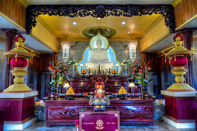 Hoi Thanh Buddhist Temple Religious worship comes in many forms from many cultures. This Vietnamese Buddhist temple in southwest Houston is very  colorful and quite a site to see in person. The simple exterior of the building doesn't prepare you for the ornate worship area where Buddha sits center stage.
