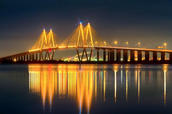 Fred Hartman Bridge at Night