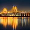 The Fred Hartman Bridge at Night
