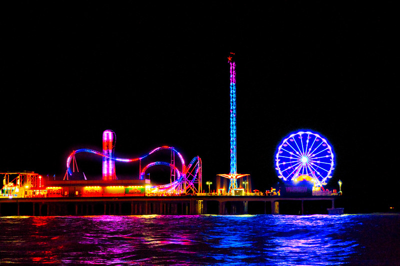 The Galveston Pleasure Pier at Night. Photo by Tim Stanley Photography.