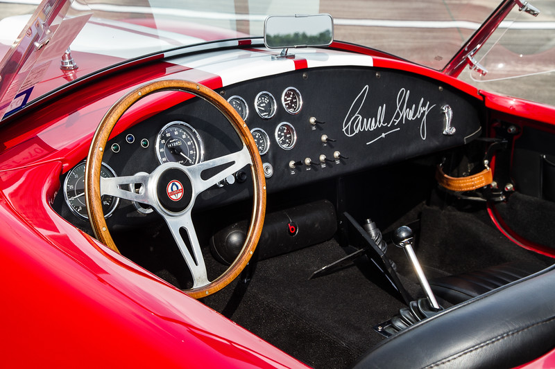 The interior of an orignal Carol Shelby Cobra.