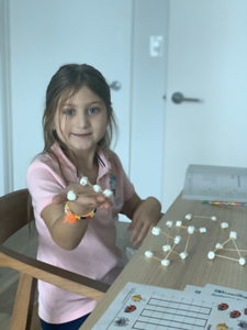Kindergarteners created 3D shapes at home