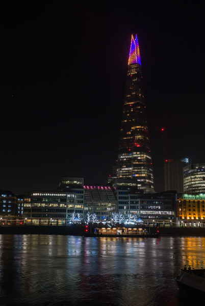 The Shard - Christmas Lights - River Thames - London (December 2019)