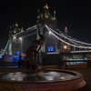 Tower Bridge - Girl with a Dolphin Fountain - London (December 2019)