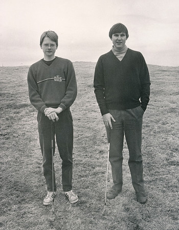 Næstir holu á 16. braut í Grafarholti í keppni sem Ferðaskrifstofan Útsýn stóð fyrir árið 1984. Jón H. Karlsson og Einar Long.