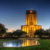 "Houston City Hall<br /> The Houston City Hall was lit to highlight a banner promoting ""Tutankhamun: The Golden King and the Great Pharaohs""."