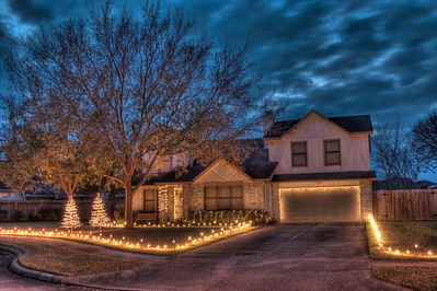Christmas lights at dusk.