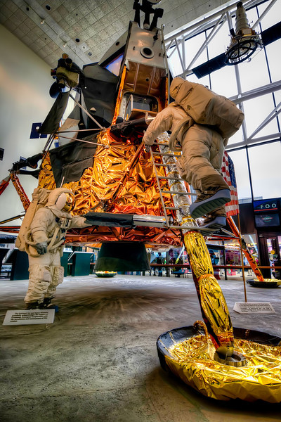 Apollo Lunar Module<br /> Many remember watching black and white TV images as astronauts walked on the moon. You can find this full-size unit at the National Air and Space Museum.