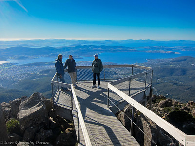Guy, Steve and Karen  at the top of Mt Wellington