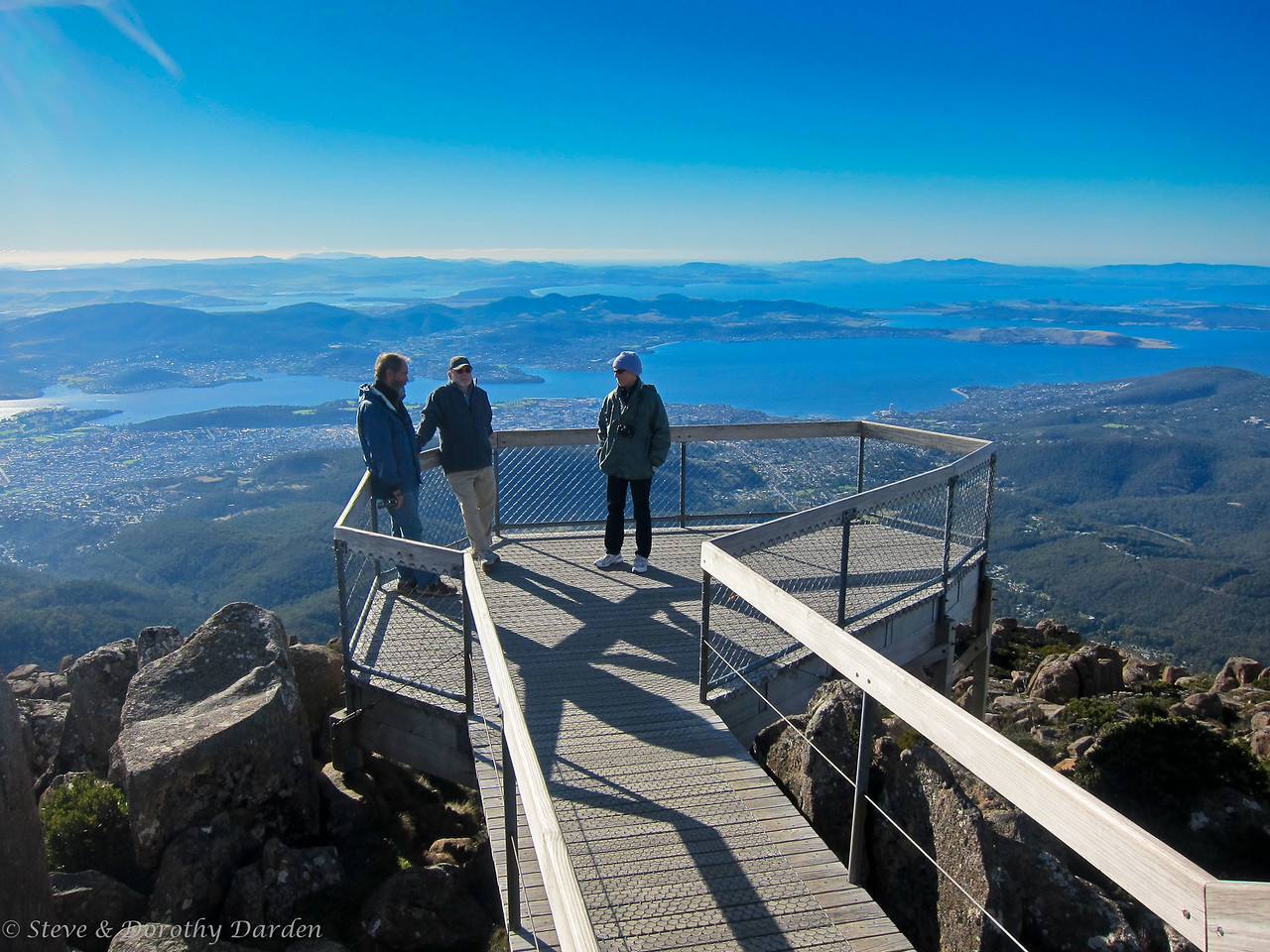 Guy, Steve and Karen  at the top of Mt Wellington