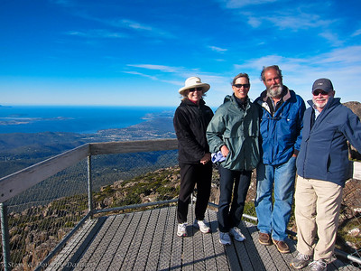 Dorothy, Karen, Guy and Steve at the top of Mt Wellington