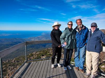 Dorothy, Karen, Guy and Steve at the top of Mt Wellington
